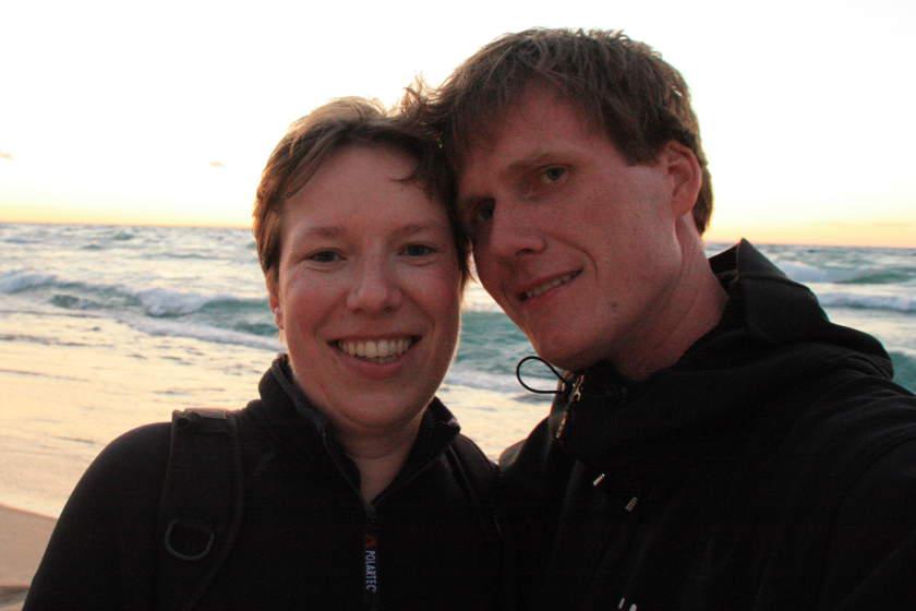 Die Köpfe der Turbohelden - Carolin und Steffen während einer Reise durch die USA am Lake Superior